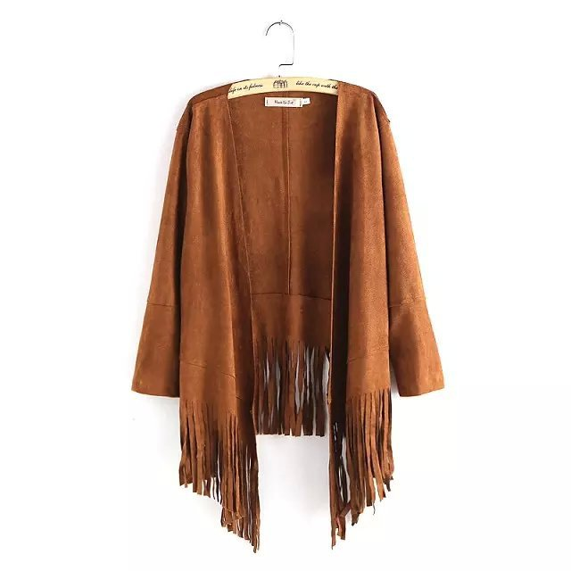 Suede Jacket for Women Vintage European Fashion Tassels ...