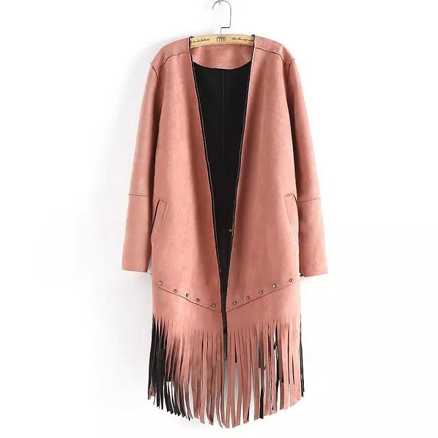 Suede Leather Jacket for Women Fashion Autumn Pink Tassel ...