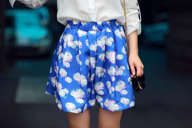 Summer Fashion women Blue sky white clouds Print waist ...
