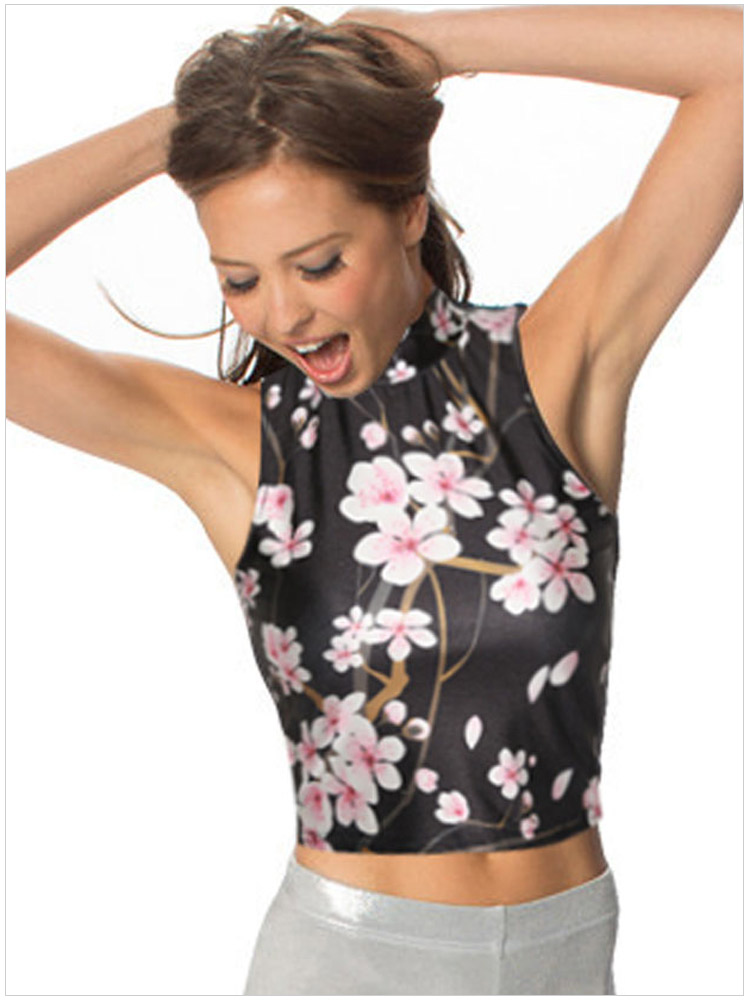 Summer Fashion Women Floral print Turtleneck sleeveless ...