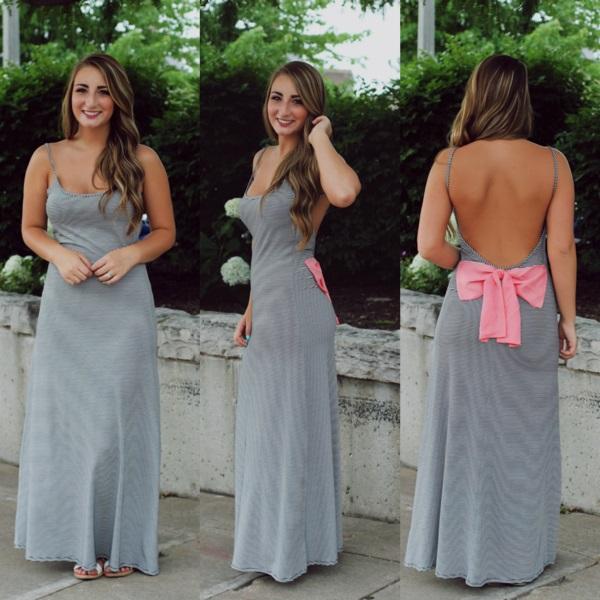 Summer Fashion women Gray Maxi Dresses Long Back Bow ...