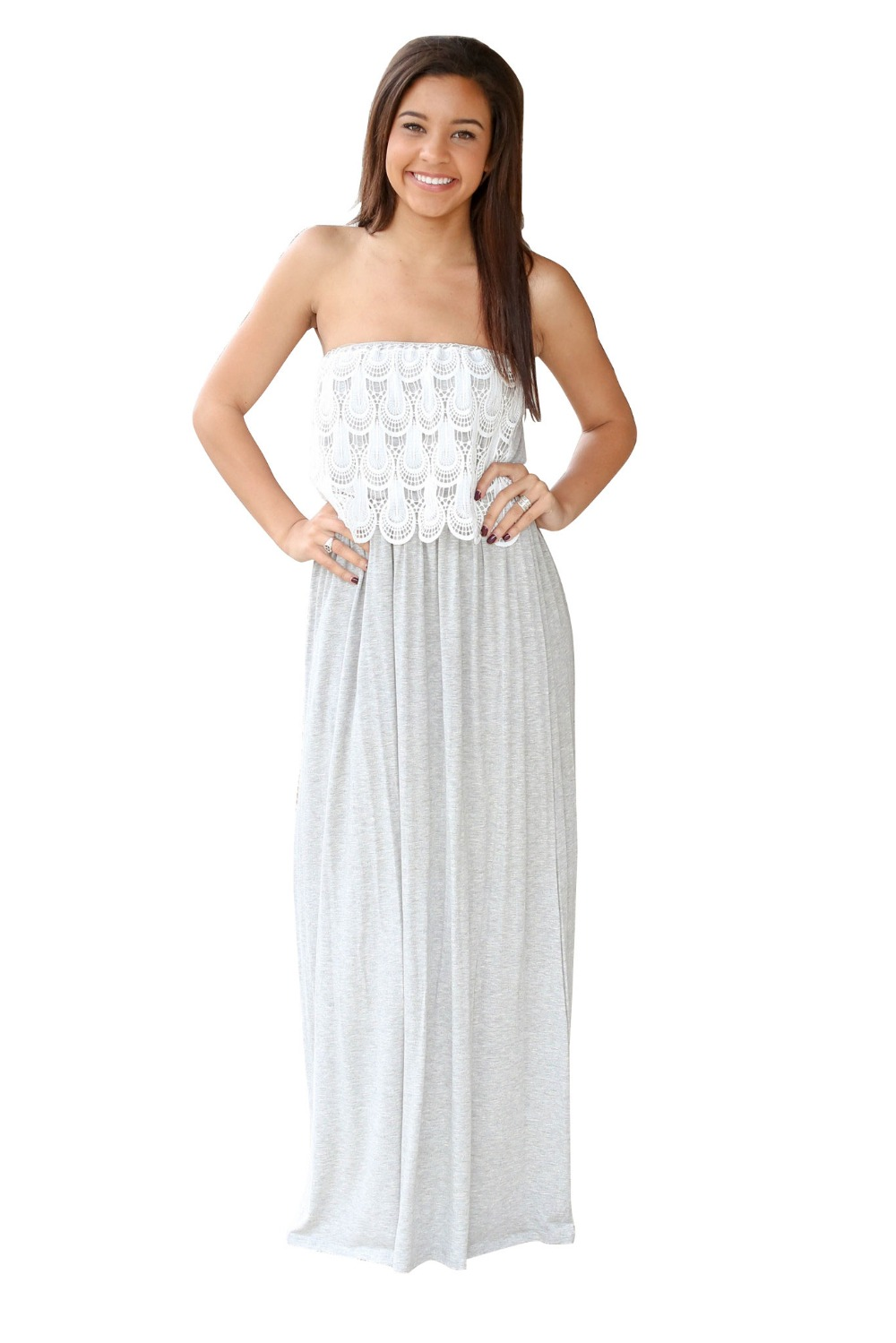 Summer Fashion women Gray Maxi Dresses Long Lace Strapless ...