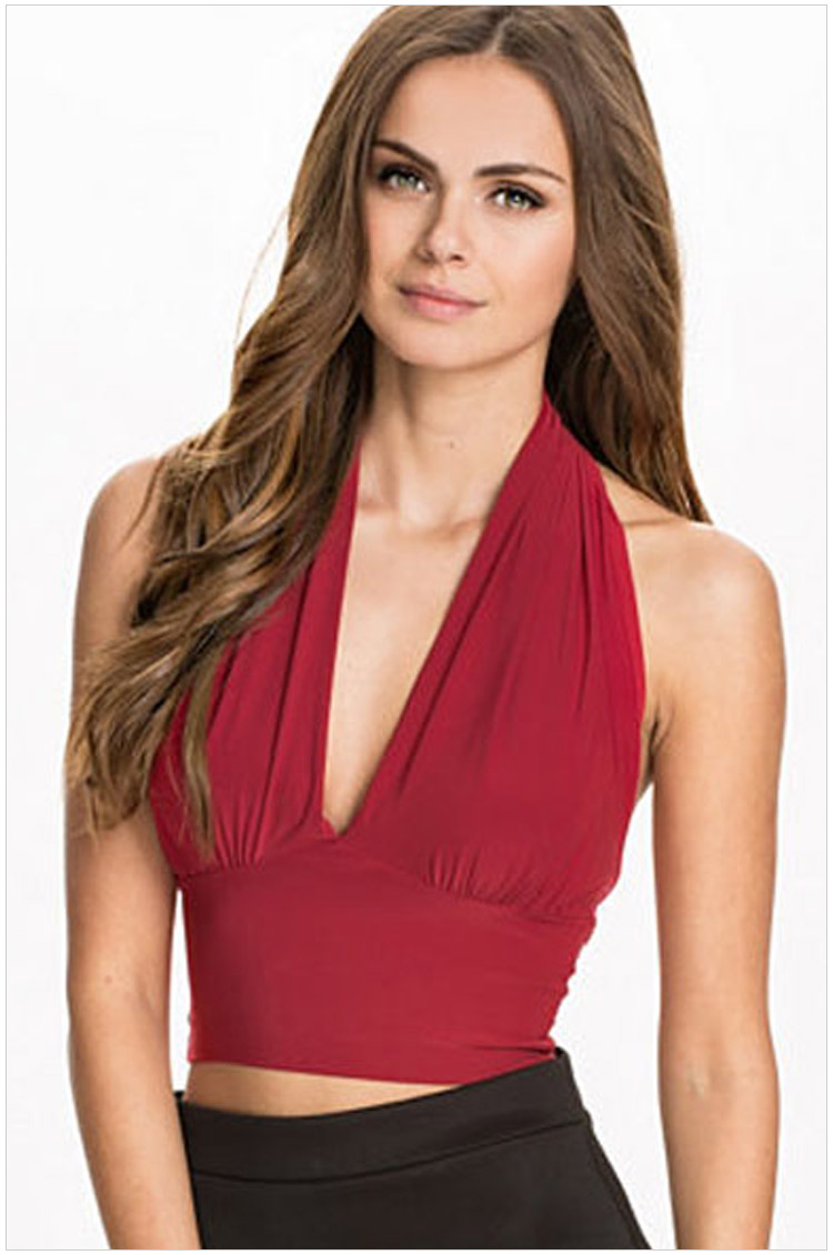 Summer Fashion Women sexy Red backless V-neck sleeveless ...
