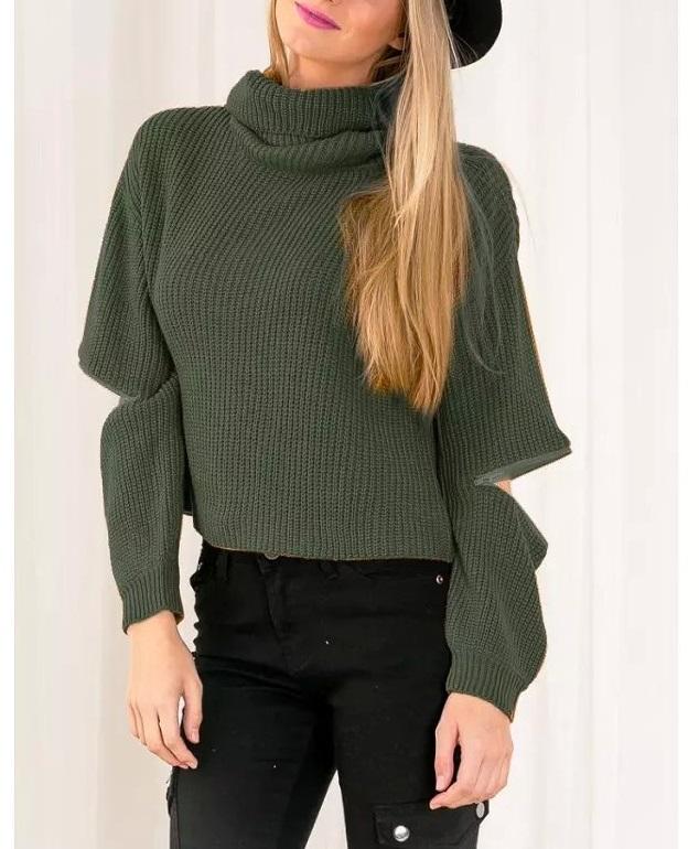 Turtleneck open zipper sleeve knitted warm sweater women ...