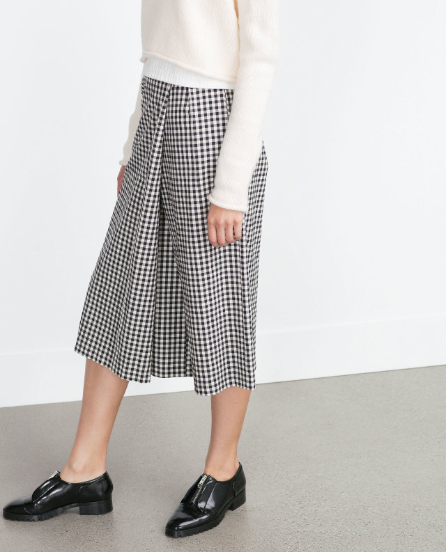 Wide Leg Pants skirt for women Fashion Ladies Plaid ...