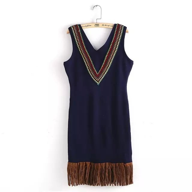 Winter Fashion knitted Dress For Women Stretch Navy ...