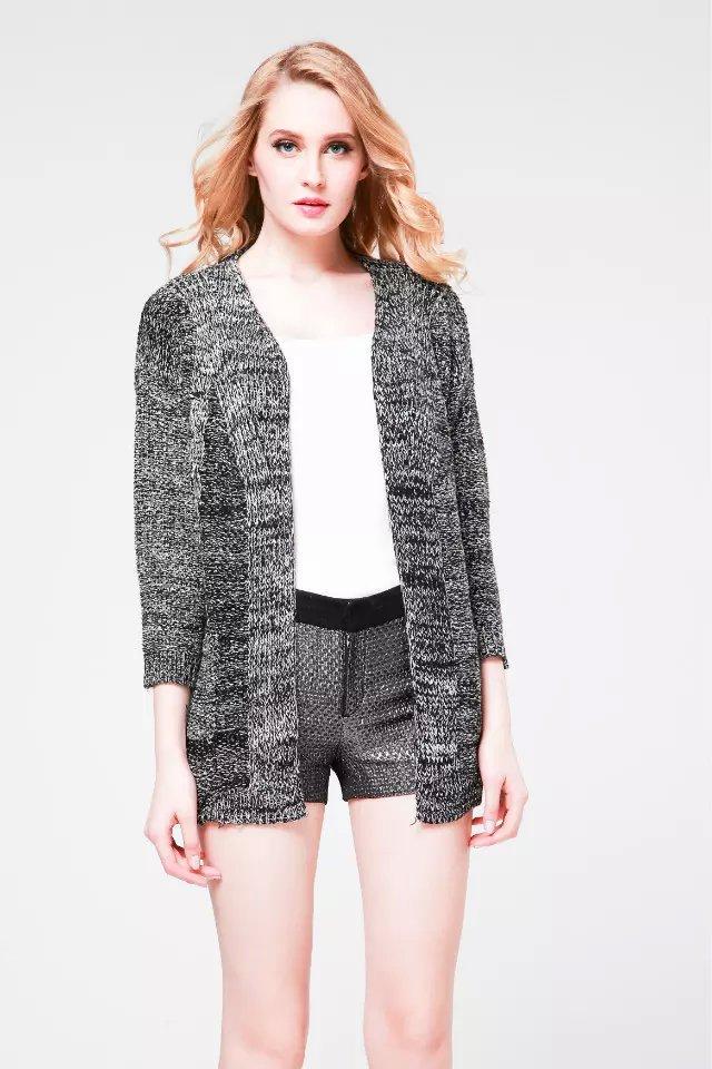 Winter Fashion Women Elegant black Knitted Cardigan ...