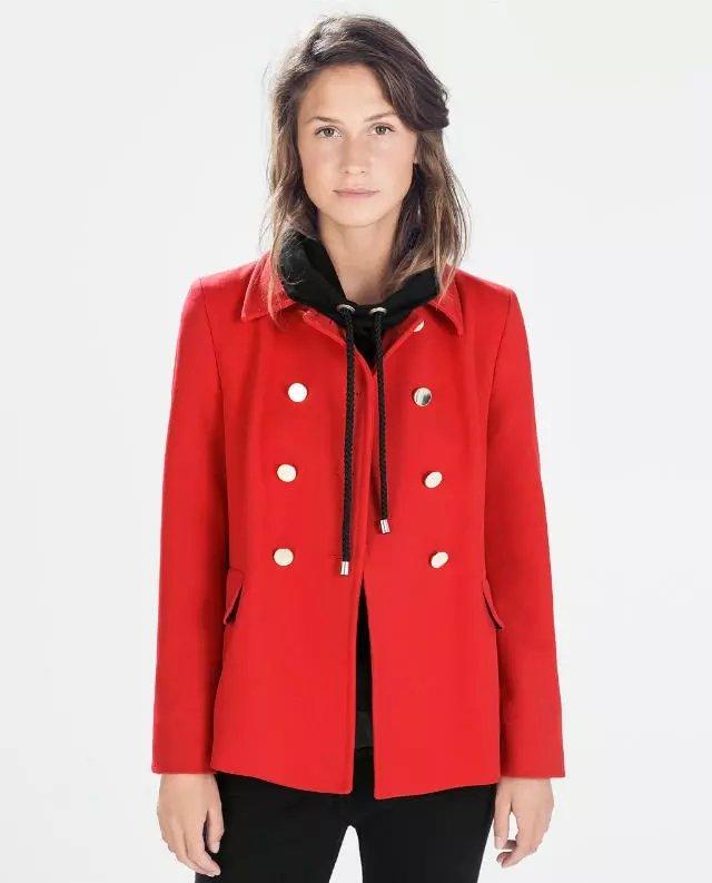 Winter Fashion women elegant double-breasted red woolen coat turn-down collar long sleeve pockets outwear casual brand
