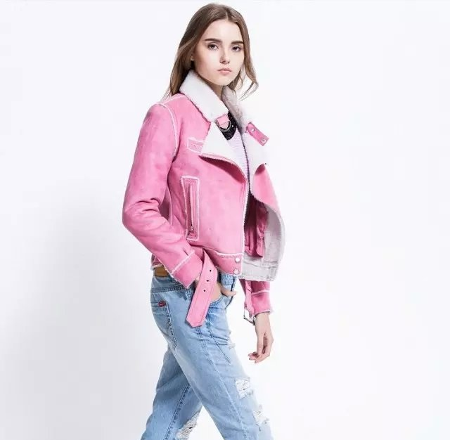winter Fashion women elegant punk pink Pocket zipper ...