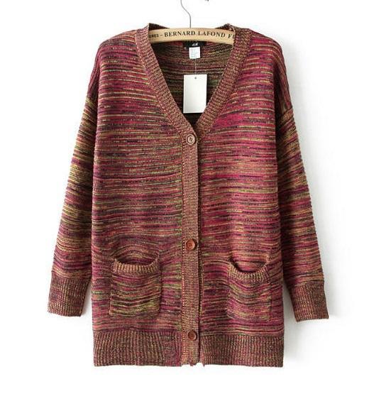 Winter Fashion Women Elegant red Knitted Cardigan Pocket ...