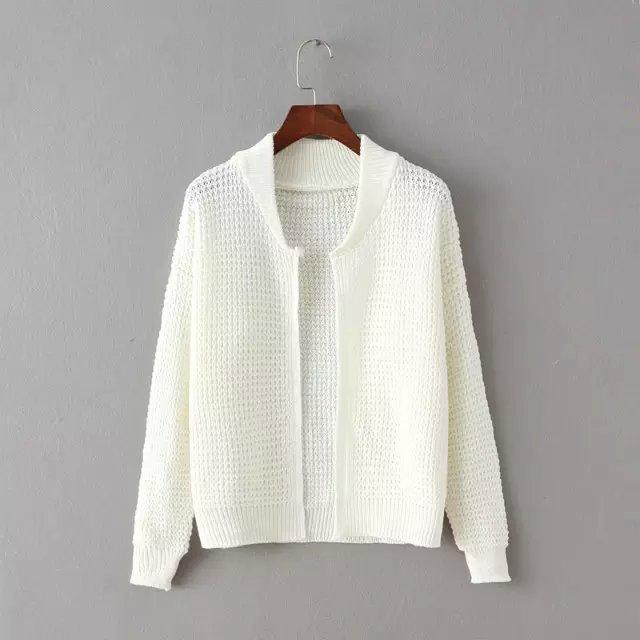Winter Fashion Women Elegant White Knitted Cardigan ...