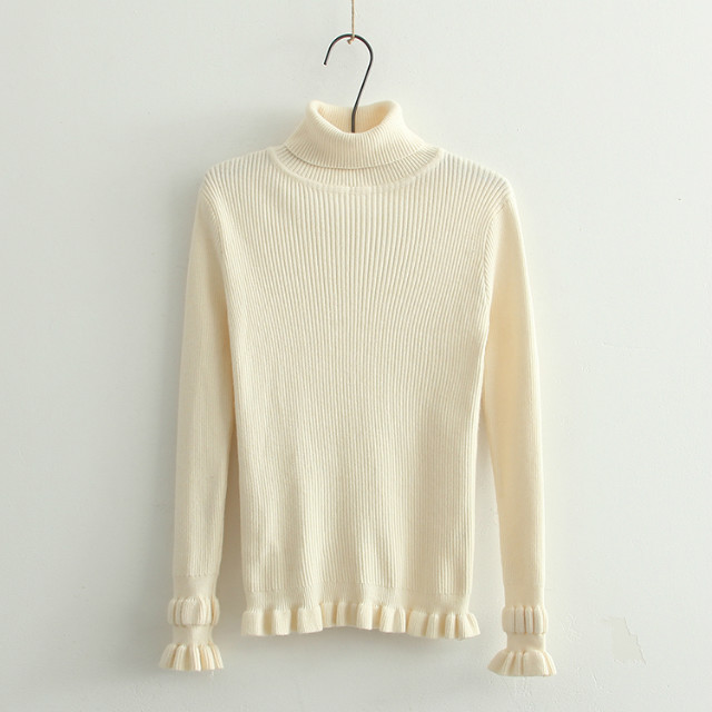 Winter Fashion women thick warm beige Pullover knitwear ...