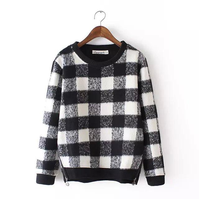 Winter Fashion Women thick warm woolen side zipper Plaid ...