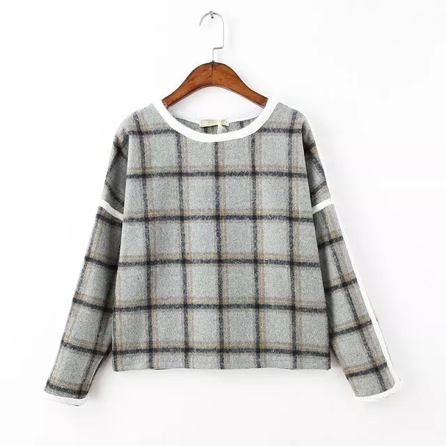 Winter Fashion Women woolen Plaid print pullover Casual ...
