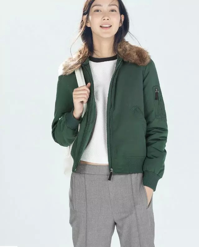 Winter Jacket for Women Elegant green Warm Cotton Fur ...
