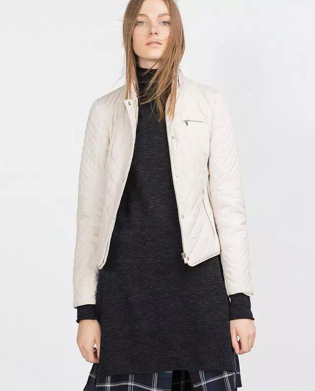 Winter Jacket Women Elegant beige Cotton standing collar ...