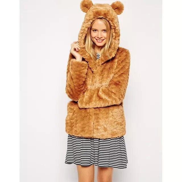 Winter Jacket Women Elegant brown Cotton fur Hooded ...