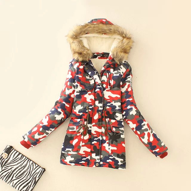 Winter Jacket Women Elegant Camouflage Print Thick Warm ...