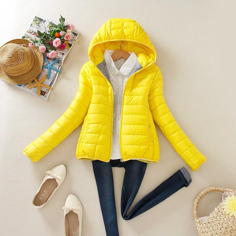 Winter Jacket Women Elegant Cotton Hooded Zipper Pocket ...