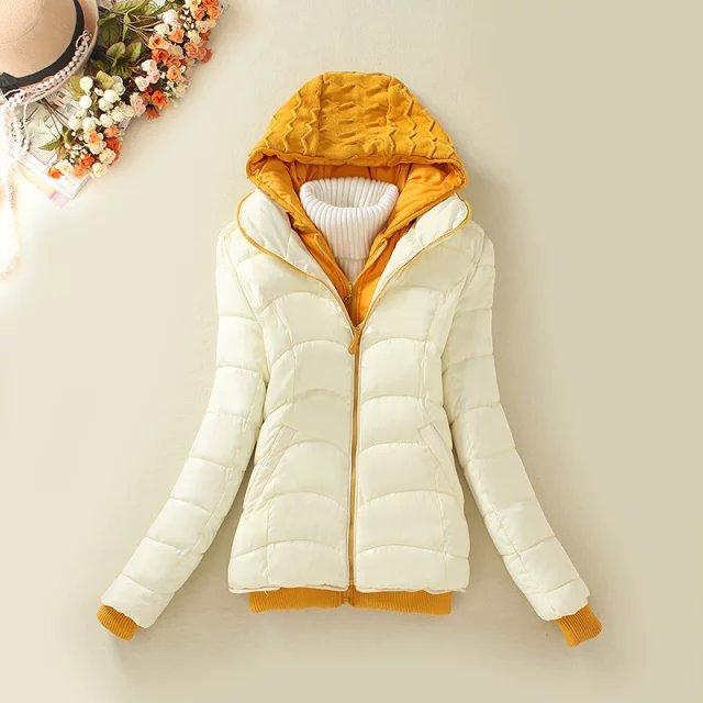 Winter Jacket Women Elegant Cotton Wadded knitted Hooded ...