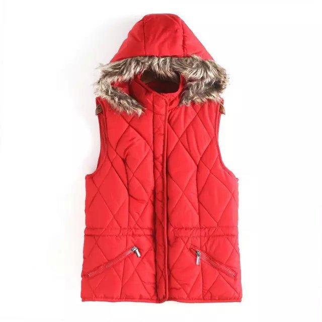 Winter Jacket Women Elegant Fur Cotton Hooded Zipper ...