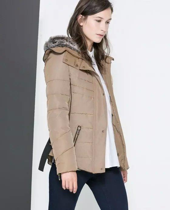 Winter Jacket Women Elegant Fur Dowm Hooded Zipper Pocket ...