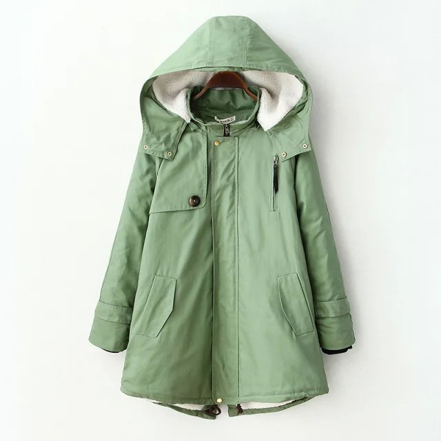 Winter Jacket Women Elegant Green Cotton Hooded Zipper ...