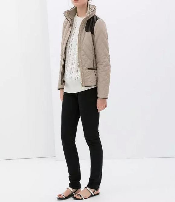 Winter Jacket Women Elegant Khaki PU patchwork Cotton ...