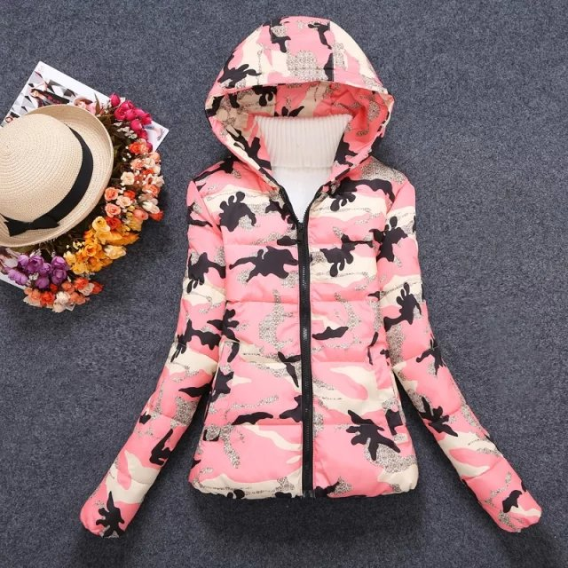Winter Jacket Women Elegant Pink Camouflage Print Thick ...
