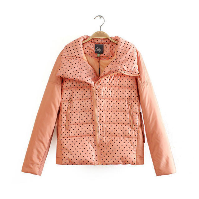 Winter Jacket Women Elegant Pink Dots print Down Zipper ...