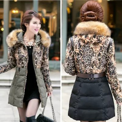 Winter Jacket Women Elegant Thick Warm Leopard print ...