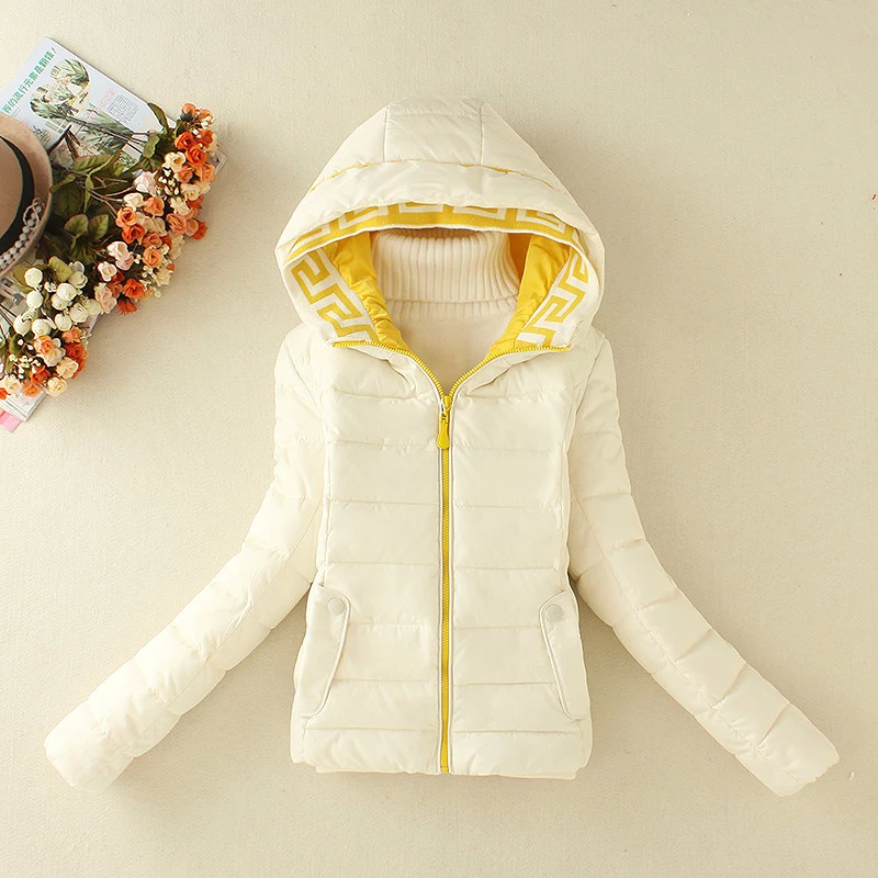 Winter Jacket Women Elegant White Cotton Hooded Zipper ...