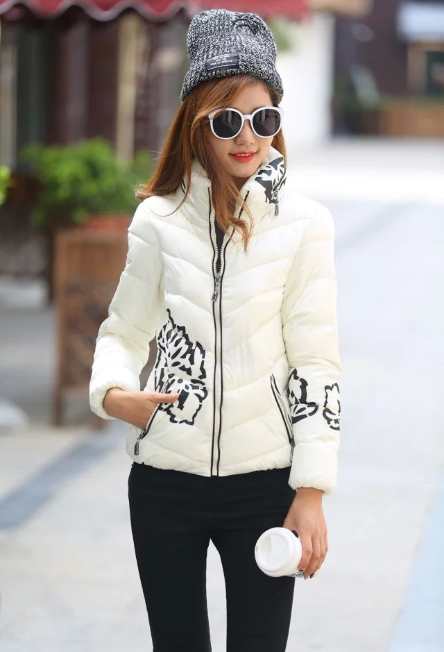 Winter Jacket Women Elegant White floral print Cotton ...