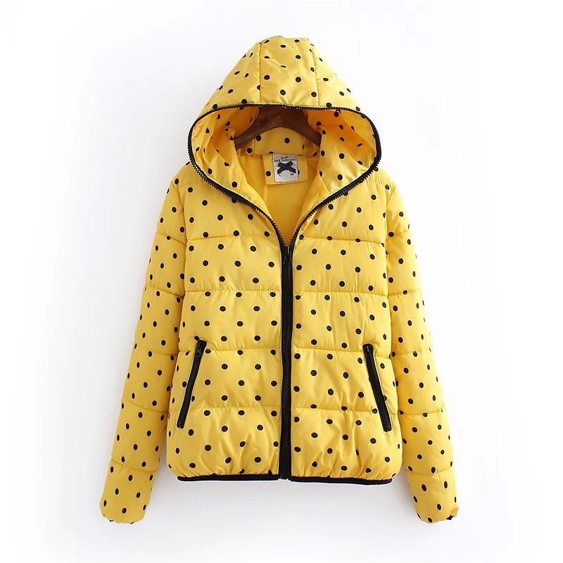 Winter Jacket Women Elegant Yellow Dot print Cotton ...