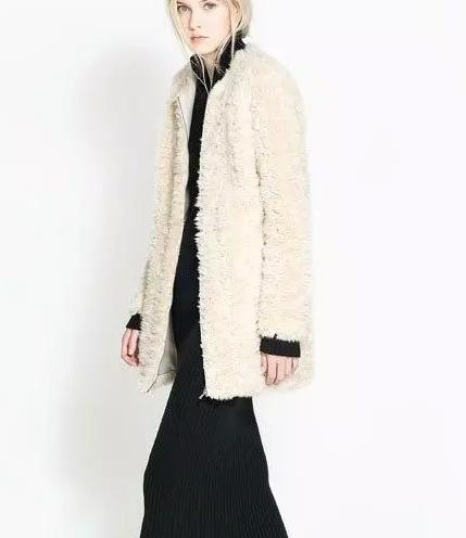 Winter women European fashion elegant Beige Fur Long coat long sleeve warm zipper pocket O-neck outwear casual brand