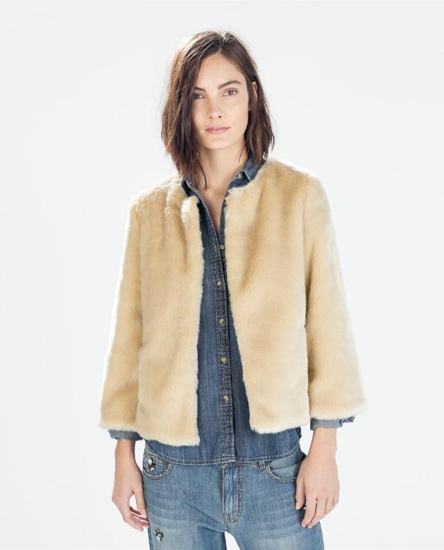 Winter women European fashion elegant khaki Fur short coat long sleeve Buttons Thick Warm O-neck outwear casual brand