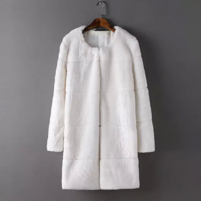 Winter women European fashion elegant white Fur Long ...