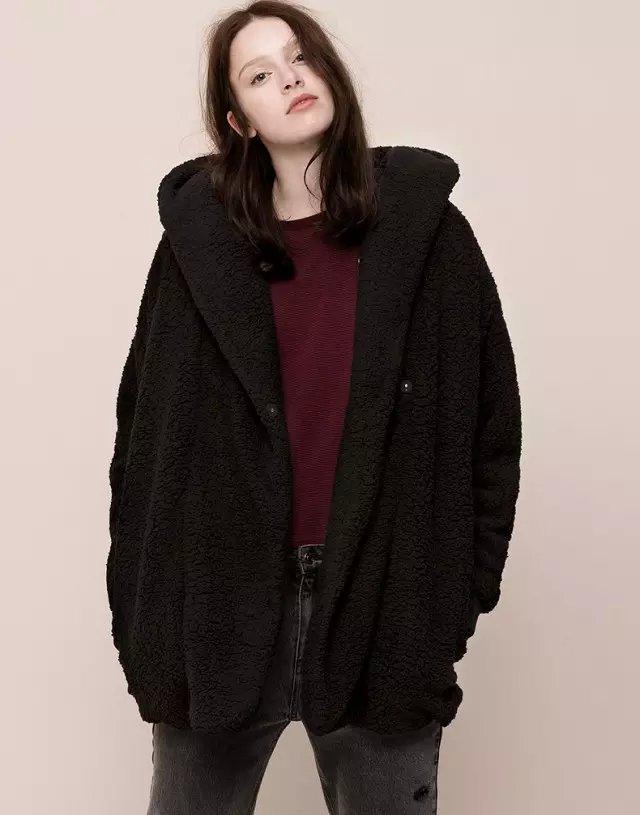 Winter women European fashion winter thick warm elegant Black faux Fur coat long sleeve button hooded pocket casual brand