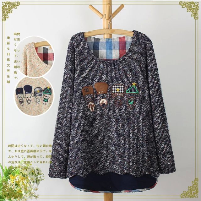 Winter women fashion Colored yarn Cartoon Embroidery ...