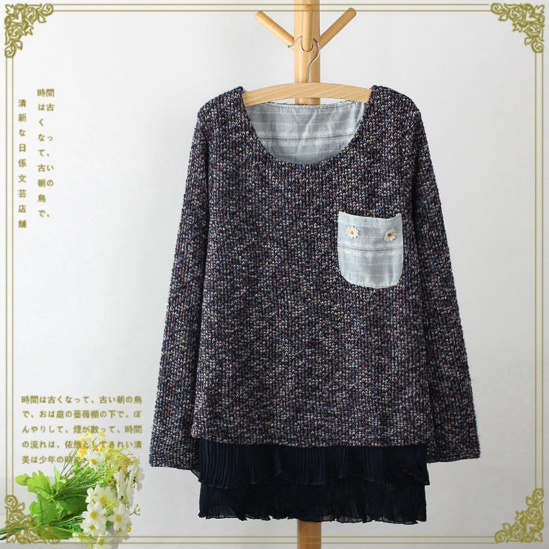 Winter women fashion Colored yarn chiffon patchwork ...