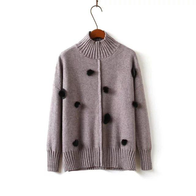 Winter women Fashion elegant knitted Khaki fur ball ...