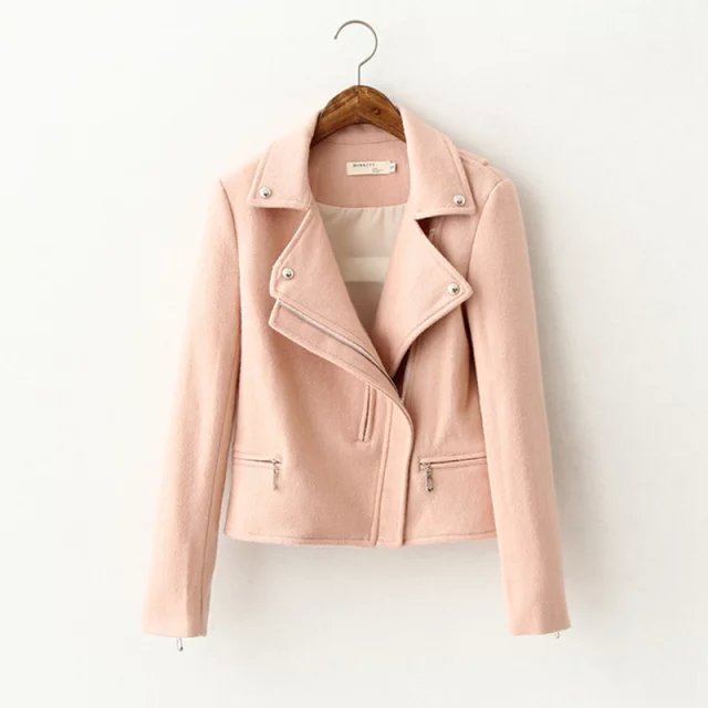 Winter women fashion elegant Pink woolen short coat ...