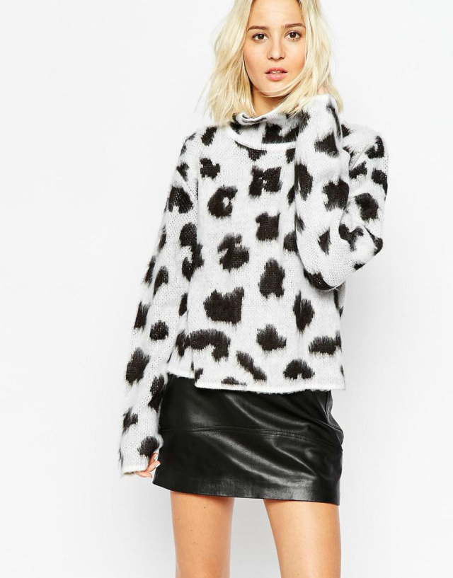 Winter women Fashion sexy white knitted fur Leopard ...