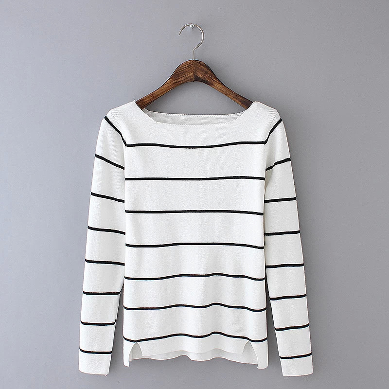 Winter women fashion striped office Pattern white Knit ...
