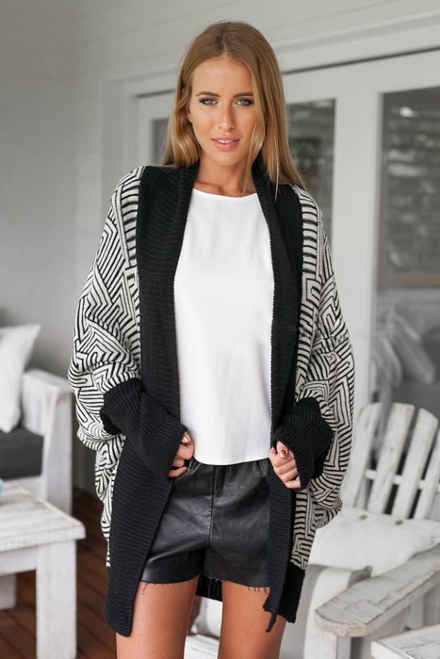 Winter Women Fashion vintage Geometric Pattern Knitted ...