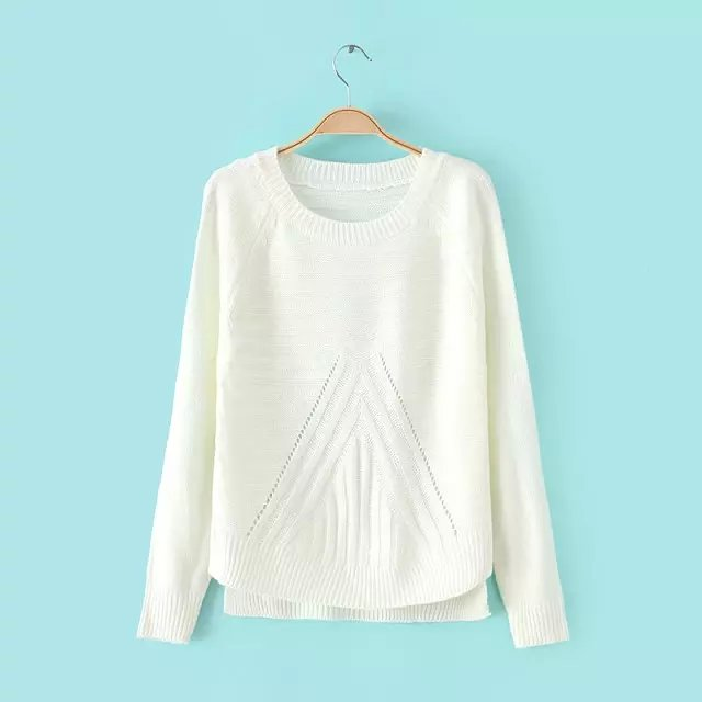 Winter women fashion White hollow out knitted Sweaters ...