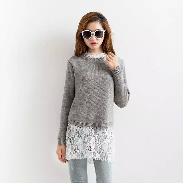 winter Women Two Piece Sets New Fashion Gray Knitted ...