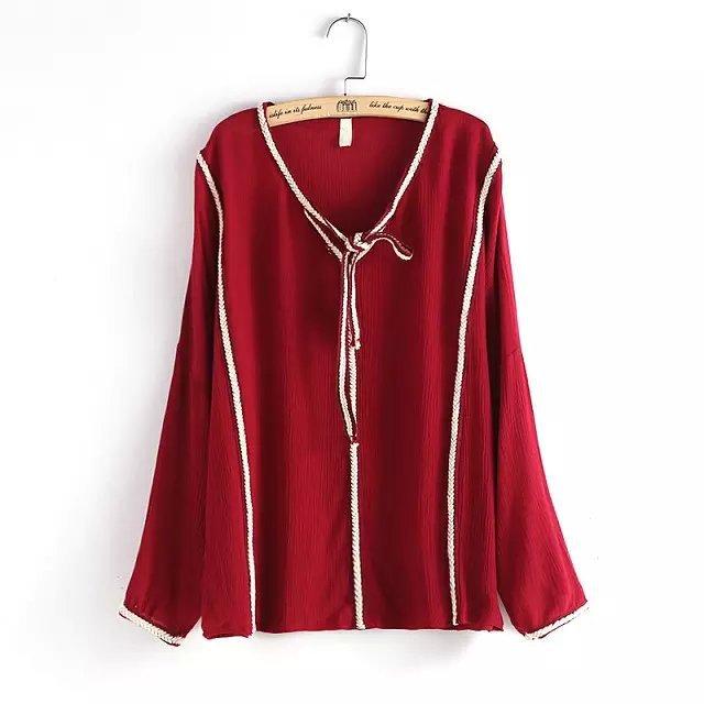 Women Autumn Blouse Shirt Red Vintage Fashion Weave ...