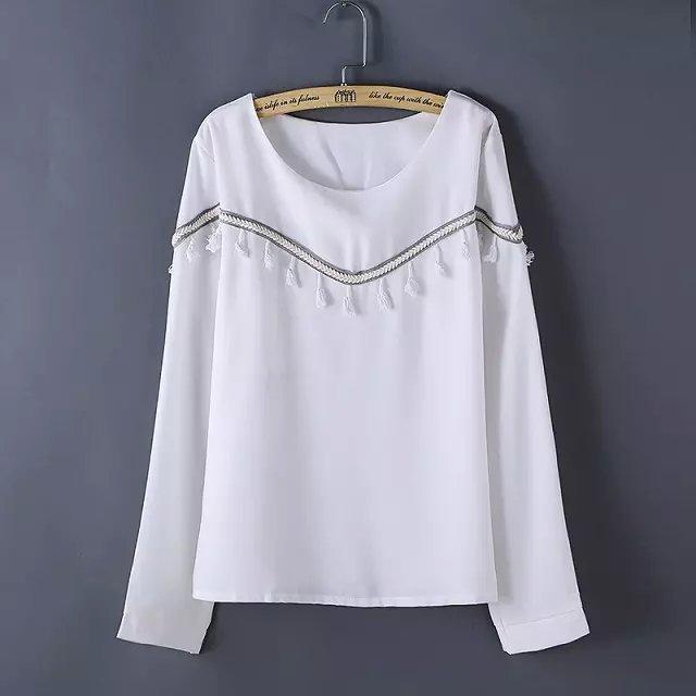Women Autumn Blouse Shirt White Vintage Fashion Tassel ...
