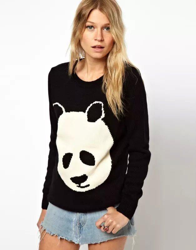 Women Autumn Fashion black panda pattern knitted Pullover ...